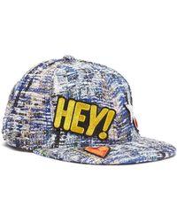 Venna - 'hey Love' Mix Appliqué Tweed Baseball Cap - Lyst