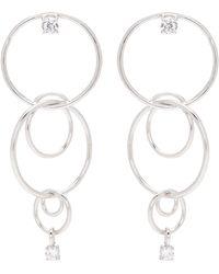 CZ by Kenneth Jay Lane - Cubic Zirconia Tiered Interlocking Hoop Earrings - Lyst