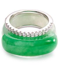 LC COLLECTION - Diamond Jade 18k White Gold Stackable Ring - Lyst