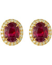 LC COLLECTION - Diamond Ruby 18k Yellow Gold Platinum Stud Earrings - Lyst