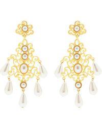 Kenneth Jay Lane - Filagree Glass Pearl Drop Clip Earrings - Lyst