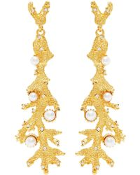 Kenneth Jay Lane - Crystal Pearl Dots Sea Branch Textured Satin Gold Earrings - Lyst