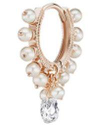 Maria Tash - 'coronet' Diamond Pearl Single Clicker 6.5mm Hoop Earring - Lyst