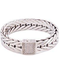 John Hardy - Diamond Silver Medium Weave Effect Link Chain Bracelet - Lyst