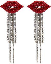 Venna - Glass Crystal Lips Chain Fringe Drop Earrings - Lyst