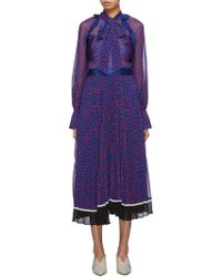 663d03044e66 Self-Portrait - Ruffle Trim Pleated Graphic Print Chiffon Dress - Lyst