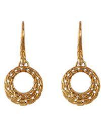 John Hardy - 18k Gold Chain Effect Hoop Drop Earrings - Lyst
