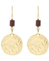 Kenneth Jay Lane - Wooden Bead Hammered Coin Earrings - Lyst