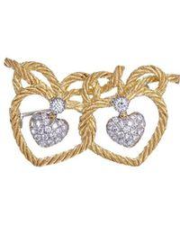 Buccellati - 'orocoll' Diamond 18k Gold Intertwined Hearts Brooch - Lyst