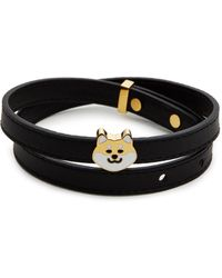 Ruifier - 'teddy' 18k Yellow Gold Plated Dog Charm Leather Bracelet - Lyst