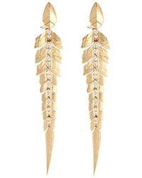 Stephen Webster - Diamond 18k Yellow Gold Linked Feather Drop Earrings - Lyst