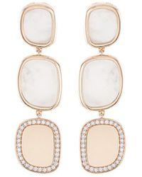 Roberto Coin - 'black Jade' Diamond Mother Of Pearl 18k Rose Gold Link Drop Earrings - Lyst