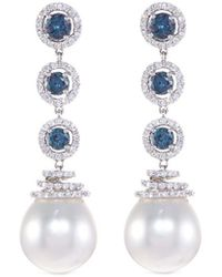 LC COLLECTION - Diamond Alexandrite Pearl Circular Drop Earrings - Lyst