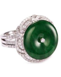 LC COLLECTION - Diamond Jade 18k White Gold Disc Ring - Lyst