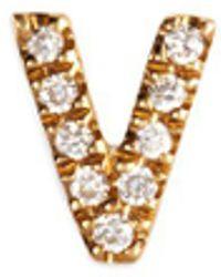 Loquet London - Diamond 18k Yellow Gold Letter Charm – V - Lyst