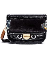 Venna - Eye Patch Faux Fur Panel Leather Crossbody Bag - Lyst