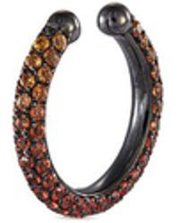 Lynn Ban - 'pave Orbital' Ombré Sapphire Rhodium Silver Single Ear Cuff - Lyst