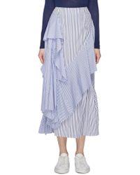 Enfold - Asymmetric Shirt Panel Ruffle Drape Mix Stripe Skirt - Lyst