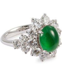 LC COLLECTION - Diamond Jade 18k White Gold Floral Ring - Lyst