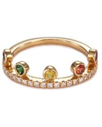 Khai Khai - 'crown' Diamond Gemstone 18k Yellow Gold Ring - Lyst