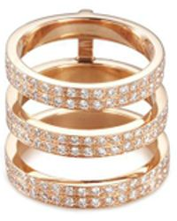 Repossi | 'berbère Monotype' Diamond 18k Rose Gold Three Row Phalanx Ring | Lyst