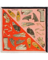 Cjw - 'shoe Goals Mini' Colourblock Graphic Print Wool Scarf - Lyst