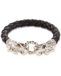 John Hardy - 'legends Naga' Silver Leather Bracelet - Lyst