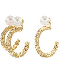 Joomi Lim - Mismatched Faux Pearl Swarovski Crystal Hoop Earrings - Lyst