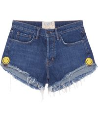 Sandrine Rose - 'the Doll' Smiley Embroidered Denim Shorts - Lyst