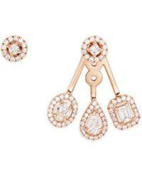 Messika   'my Twin Trio' Diamond 18k Rose Gold Asymmetric Earrings   Lyst