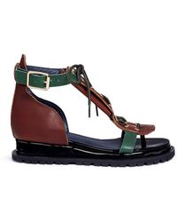 Sacai - Lace-up Cowhide And Patent Leather Wedge Sandals - Lyst