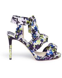 Jimmy Choo - 'kris 100' Camoflower Print Satin Bow Sandals - Lyst