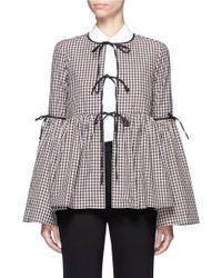 Caroline Constas Michael Bell-Sleeve Check Cotton Jacket