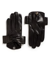 Maison Fabre - 'audrey' Bow Lambskin Leather Short Gloves - Lyst