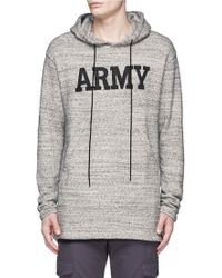 NLST - 'army' Print Mélange Cotton Terry Hoodie - Lyst