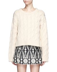 Chictopia - Chunky Cable Knit Cropped Sweater - Lyst