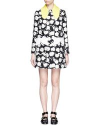Chictopia - Contrast Collar Floral Jacquard Coat - Lyst