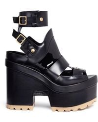 Sacai - X Pierre Hardy Caged Leather Platform Sandals - Lyst