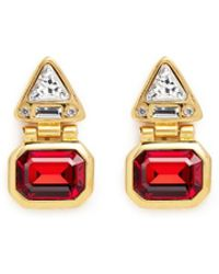 Kenneth Jay Lane - Glass Stone Gold Plated Hinged Drop Earrings - Lyst