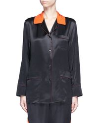 Givenchy - Contrast Collar Silk Satin Pyjama Shirt - Lyst