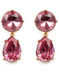Kenneth Jay Lane - Glass Crystal Pear Drop Clip Earrings - Lyst