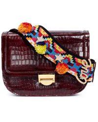 Venna - 'love' Pompom Beaded Strap Leather Satchel - Lyst