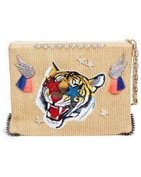 Venna - 'lovely' Tiger Embroidered Zircon Raffia Clutch - Lyst