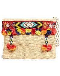 Venna - 'lovely' Embroidered Beadwork Pompom Raffia Clutch - Lyst