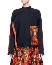 Ms Min - Floral Jacquard Patch Asymmetric Wool Twill Jacket - Lyst