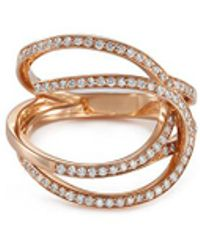 Repossi - 'la Ligne C' Diamond 18k Rose Gold Double Hoop Ring - Lyst