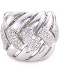 LC COLLECTION - Diamond 18k White Gold Weave Effect Ring - Lyst