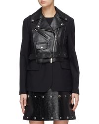Sonia Rykiel - Belted Leather Overlay Suiting Blazer - Lyst