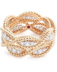 Roberto Coin - 'new Barocco' Diamond 18k Rose Gold Two Row Ring - Lyst