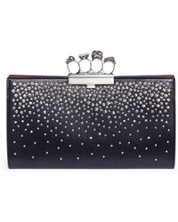 Alexander McQueen - Studded Knuckle Clasp Leather Clutch - Lyst